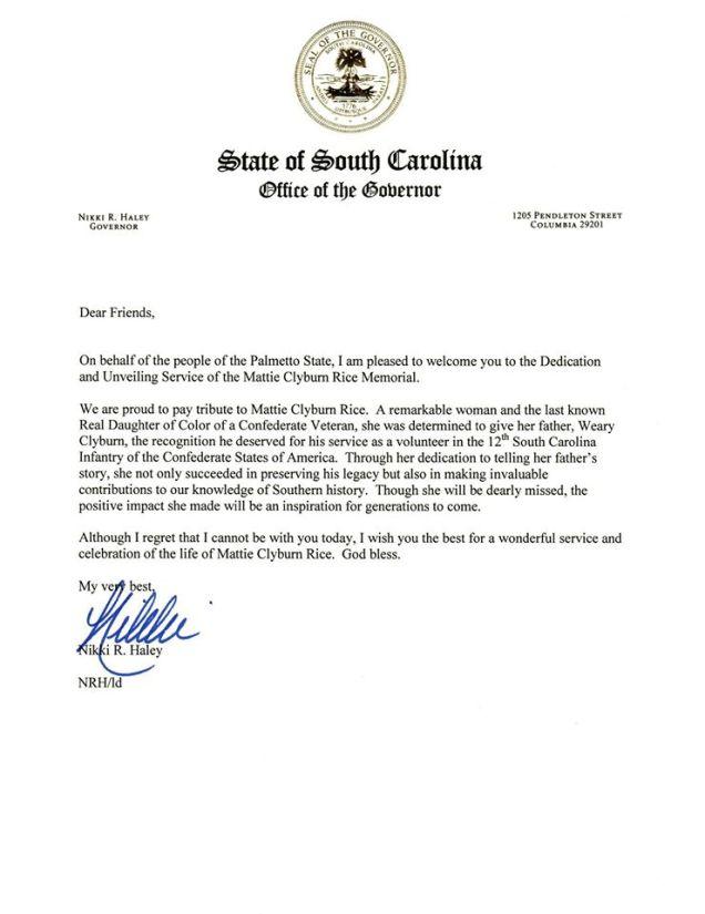 Nikki Haley Letter