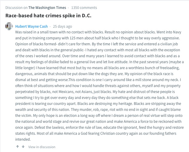 Hubert Cash on Blacks